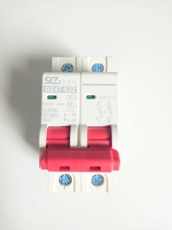 Protecciones automáticas para corriente continua 63 amperios y maximo 500V
